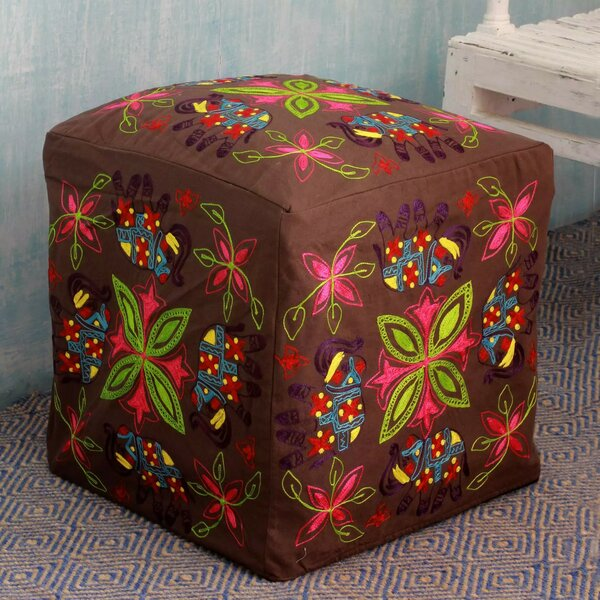 Savoy Elephant Blooms Pouf Slipcover by Bloomsbury Market