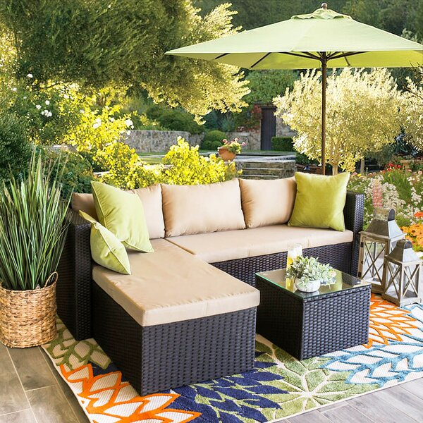 Trond Outdoor 3 Piece Rattan Sofa Seating Group with Cushions by Ivy Bronx