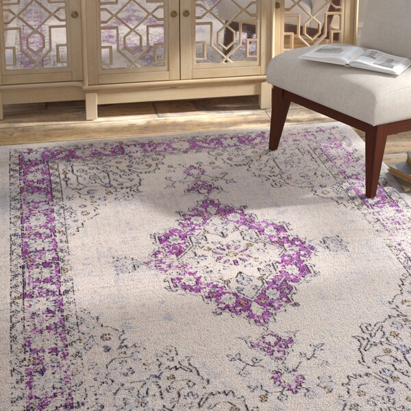 Chamberlain Bright Purple/Cream Area Rug by Bungalow Rose