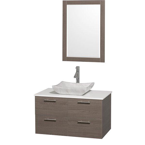 Amare 36 Single Gray Oak Bathroom Vanity Set with Mirror by Wyndham CollectionAmare 36 Single Gray Oak Bathroom Vanity Set with Mirror by Wyndham Collection