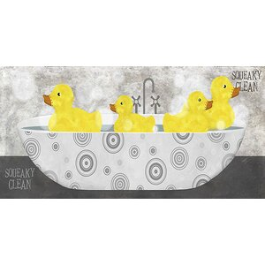 'Ducks in a Bathtub' by Beth Albert Graphic Art on Wrapped Canvas by Buy Art For Less
