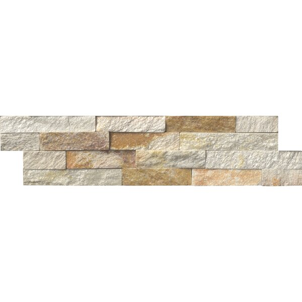 Sparkling Autumn Panel 6 x 24 Natural Stone Splitfaced Tile in Gold by MSI