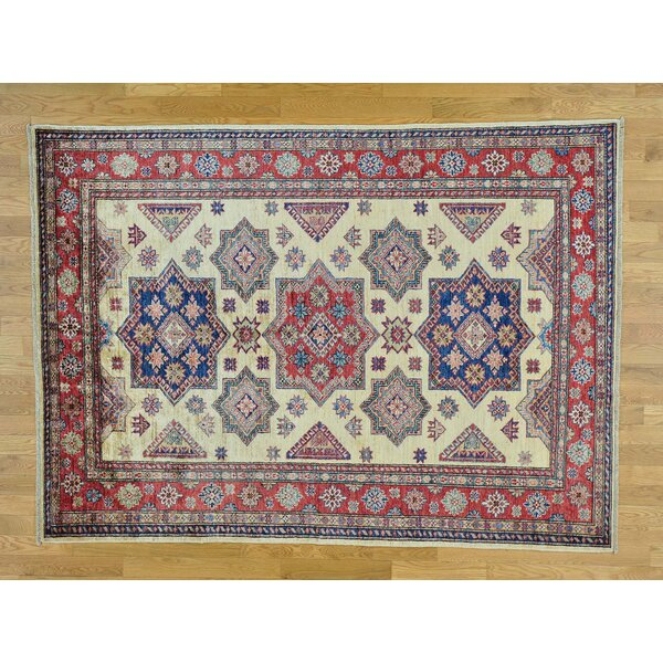 One-of-a-Kind Bechtold Geometric Design Hand-Knotted Ivory Wool Area Rug by Isabelline
