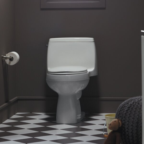 Santa Rosa Comfort Height One-Piece Compact Elongated 1.28 GPF Toilet with Aquapiston Flush Technology and Left-Hand Trip Lever by Kohler