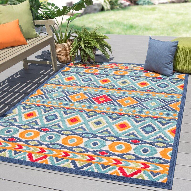 New London Geometric Orange Blue Indoor Outdoor Area Rug Amp Reviews Joss Amp Main