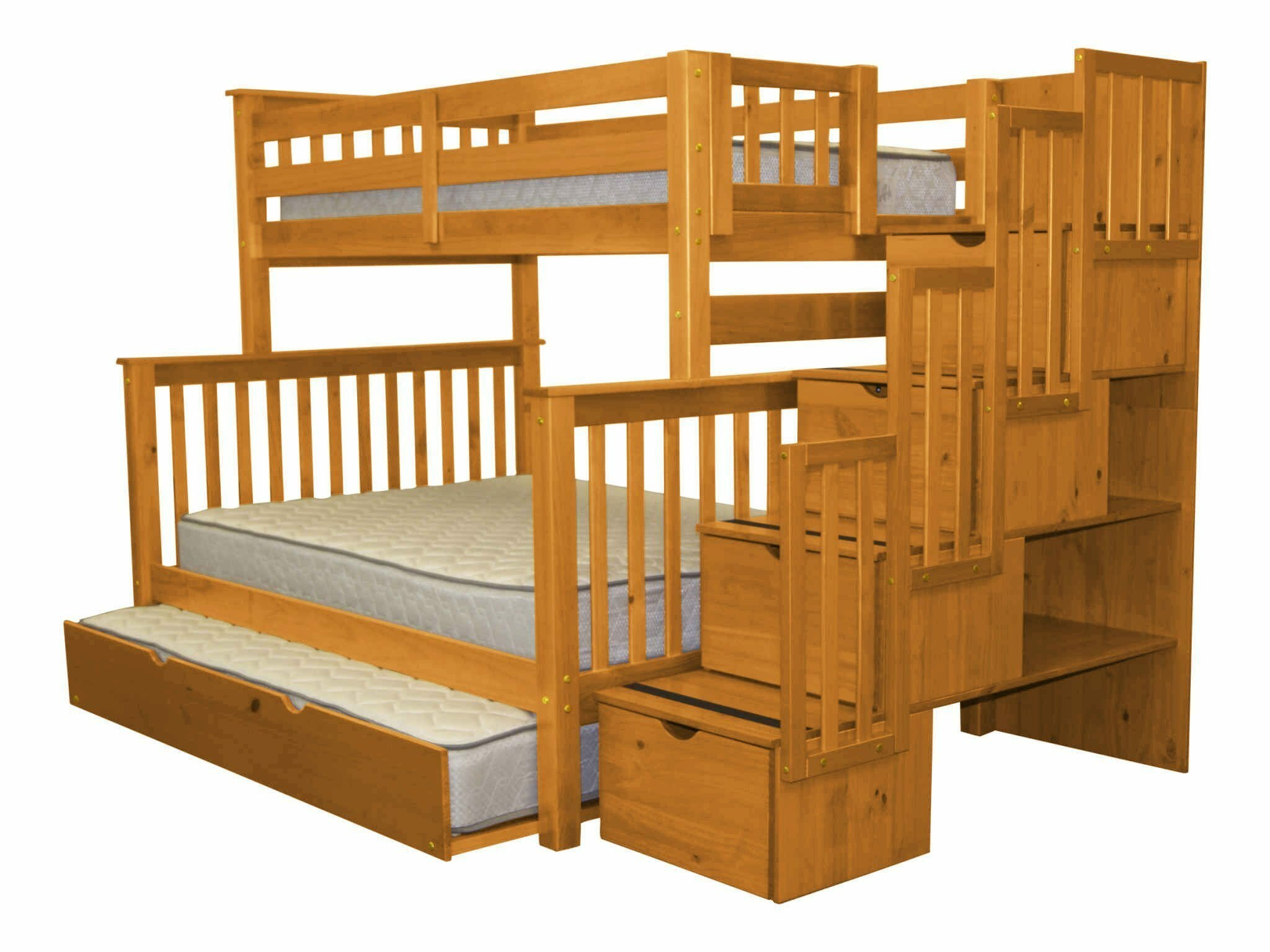 Bedz King Stairway Twin Over Full Bunk Bed With Trundle