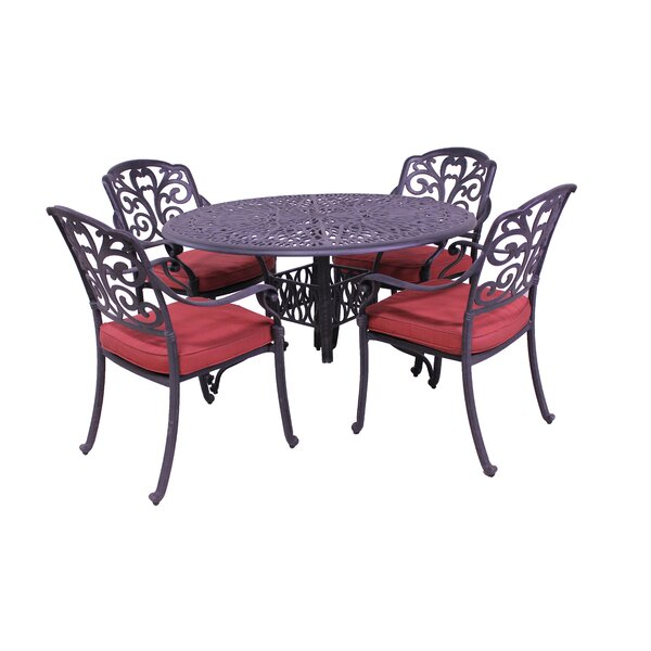 Thurston 5 Piece Dining Set with Cushions by Fleur De Lis Living