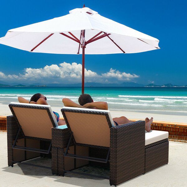 Bounce Outdoor 4 Piece Rattan Seating Group with Cushions by Latitude Run