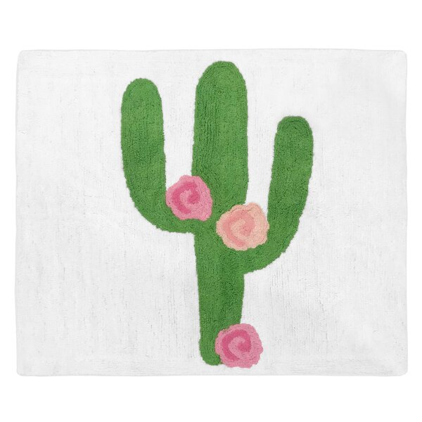 Cactus Floral Hand-Tufted Cotton Green/Pink Area Rug by Sweet Jojo Designs