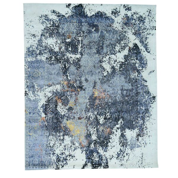 Abstract Broken Hand-Knotted Denim Blue/Gray Area Rug by 17 Stories