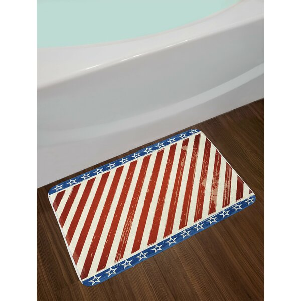 4th of July Abstract Diagonal Stripes Bath Rug by East Urban Home