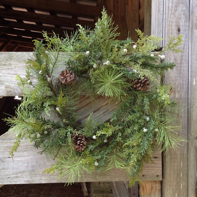 Natural Looking Snow-Tipped Pine Pinecone and Multi-Sized Rusty Bells Wreath 22