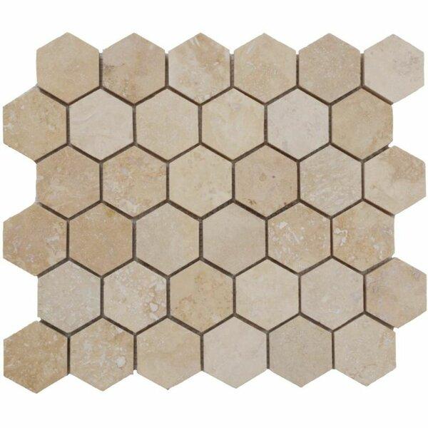 2 x 2 Travertine Honeycomb Mosaic Wall & Floor Tile