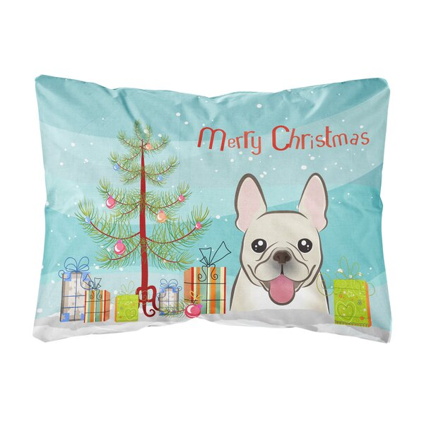 Peabody Christmas Tree and French Bulldog Fabric Indoor/Outdoor Throw Pillow by The Holiday Aisle