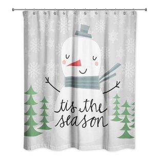 Best Choices Leta Tis the Season Snowman Shower Curtain ByThe Holiday Aisle