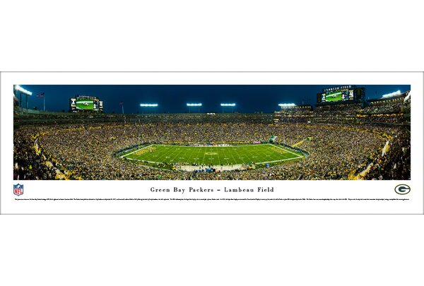 NFL Green Bay Packers 50 Yard Night Photographic Print by Blakeway Worldwide Panoramas, Inc