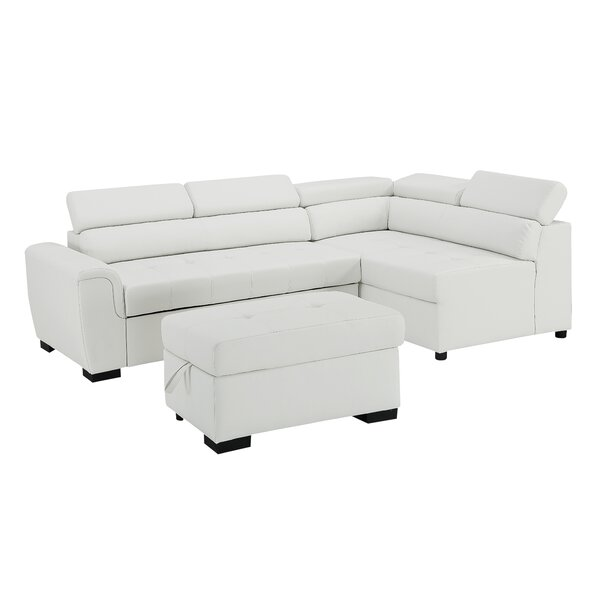 Kegan Leather Right Hand Facing Sleeper Sectional with Storage Ottoman by Ebern Designs Ebern Designs