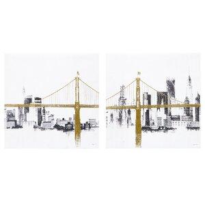Bridge and Skyline 2 Piece Graphic Art Set by INK+IVY