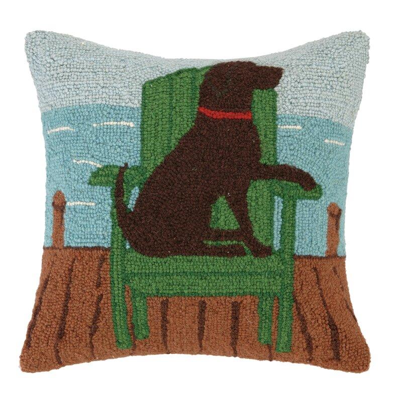 Peking Handicraft Cabin Truck Dog Hook Wool Throw Pillow