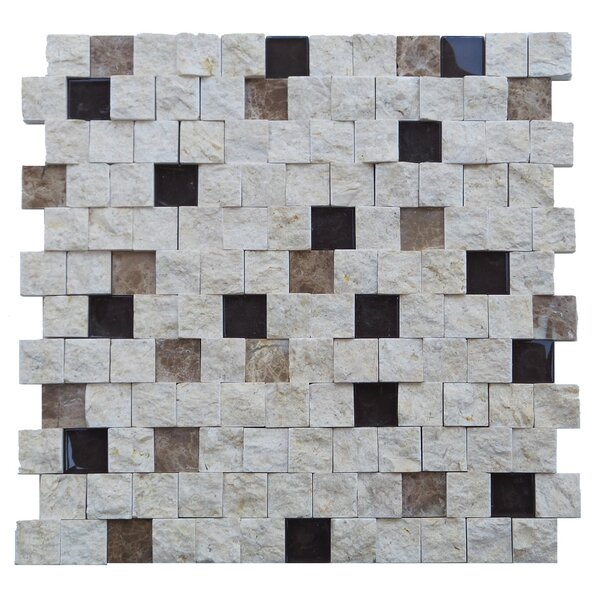 Avenue 1 x 1 Engineered Stone Splitface Tile in Beige by Mulia Tile