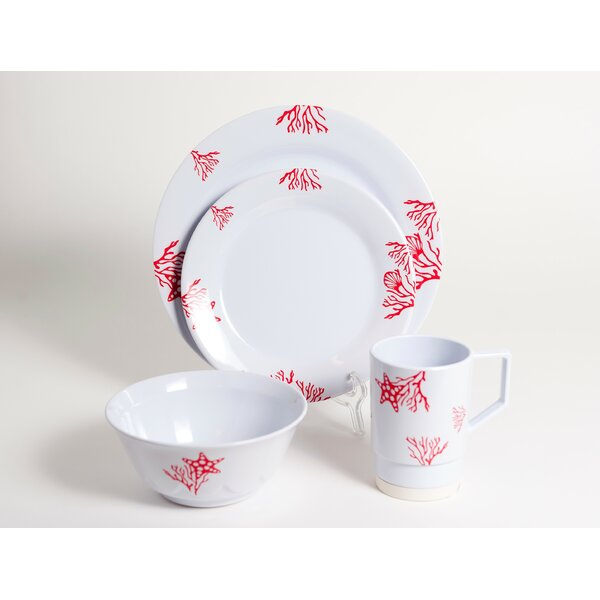 Decorated Coral Melamine 16 Piece Dinnerware Set, Service for 4 by Galleyware Company