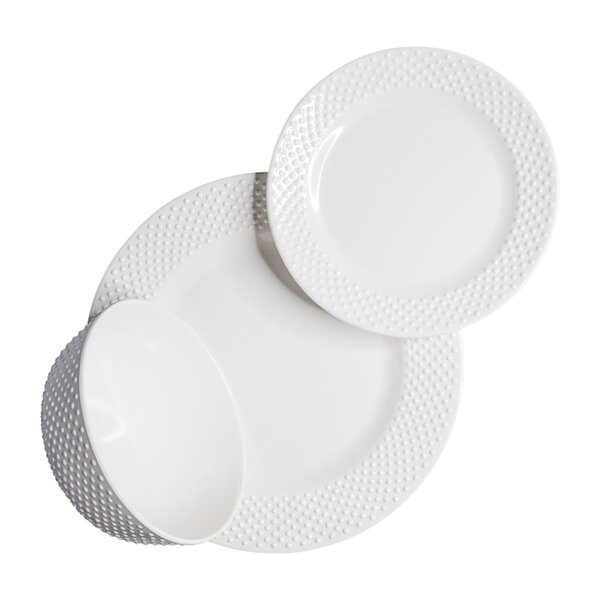 Solid Swiss Dots 12 Piece Melamine Dinnerware Set, Service for 4 by 222 Fifth