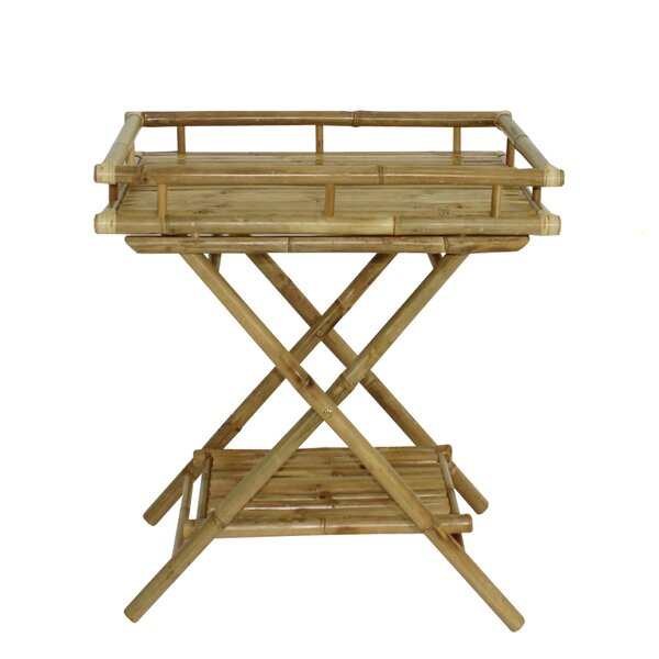 Corning Bamboo Outdoor Serving Tray Table by Bay Isle Home