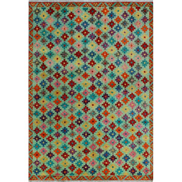 One-of-a-Kind Millender Waseme Lt. Hand-Knotted Wool Green/Red/Blue Area Rug by Bloomsbury Market