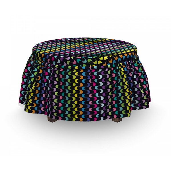 Curved Stripes Ottoman Slipcover (Set Of 2) By East Urban Home