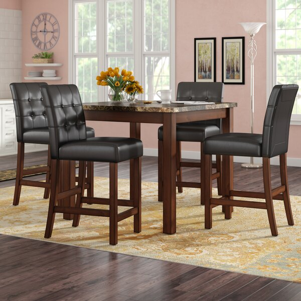Sison Faux Marble 5 Piece Counter Height Dining Set by Darby Home Co