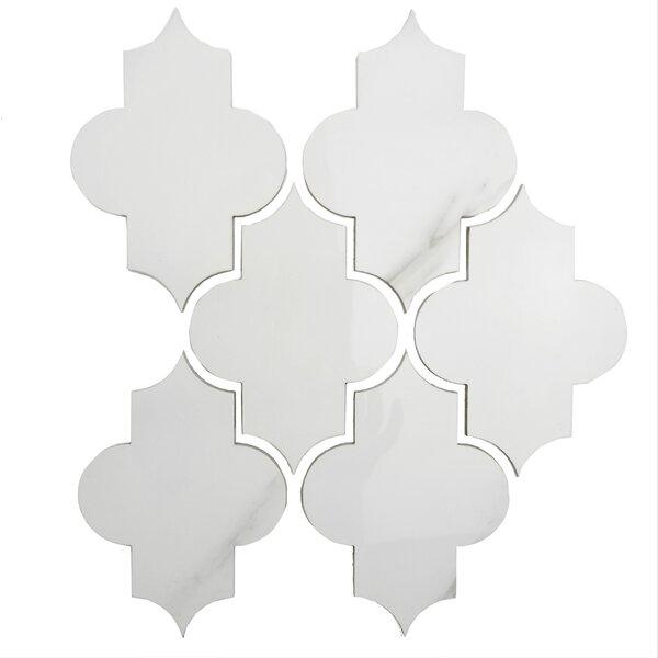 Thin Porcelain Small Lantern Wall Backsplash 12 x 10 Metal Mosaic Tile in White by Abolos