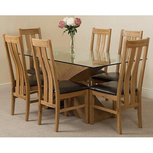 Ediz Solid Oak Glass Dining Set with 6 Chairs Ebern Desi