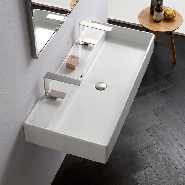 Teorema Ceramic 40 Wall Mount Bathroom Sink with Overflow