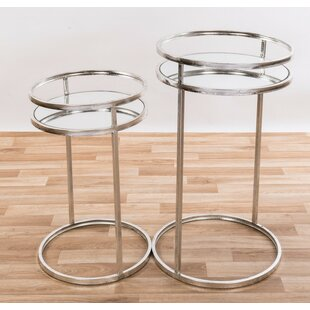 Burrill Metal Mirrored 2 Piece Nest Of Tables