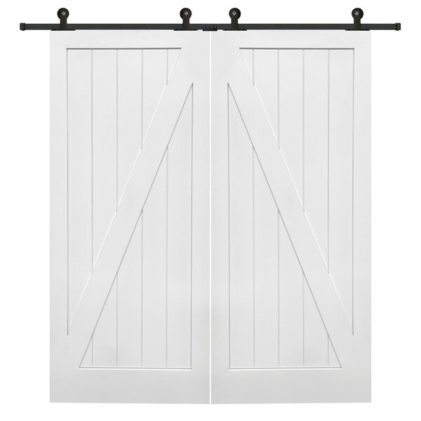 Double Stile and Rail Z Planked MDF 2 Panel White Interior Barn Door with Hardware by Verona Home Design