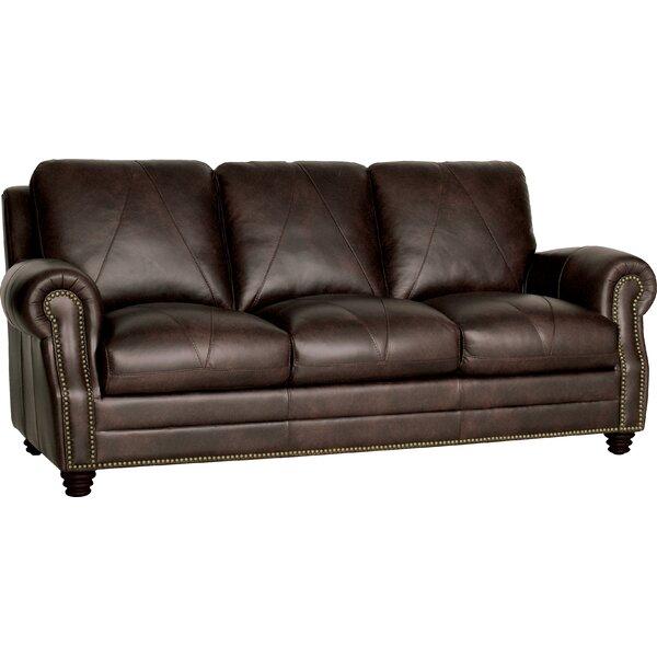 Free S&H Gardner Leather Round Arms Sofa