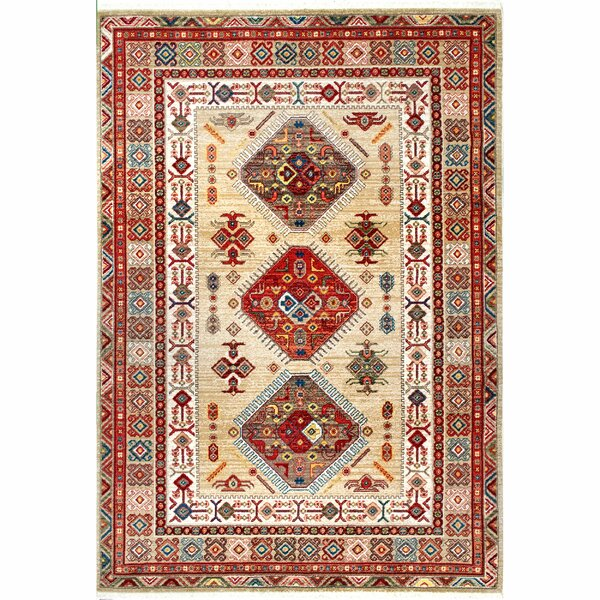 La Verne Light Beige/Red Area Rug by Loon Peak