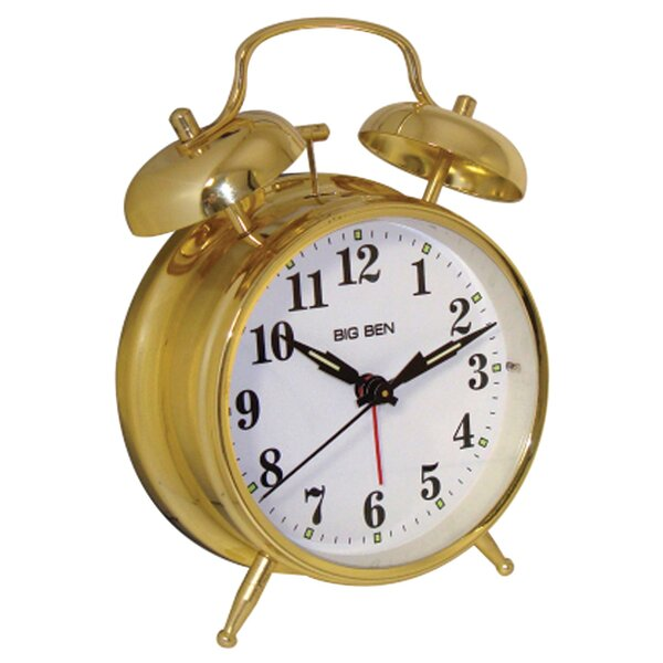 Metal Twin Bell Alarm Tabletop Clock by Charlton Home
