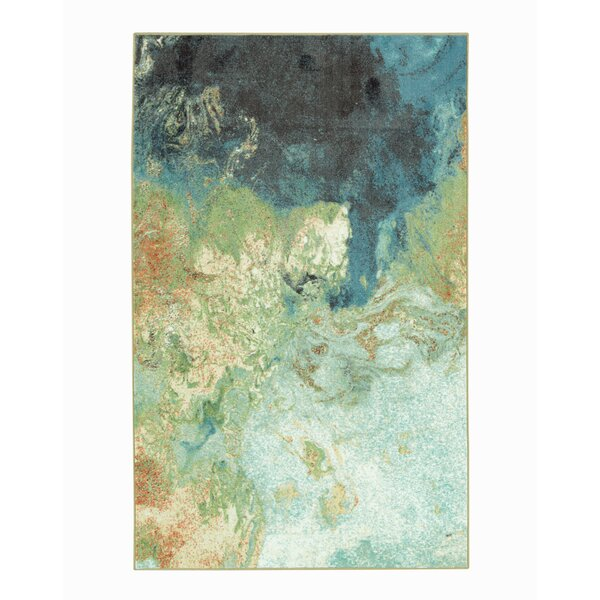 Niven Marble Ink Blue/Ivory Area Rug by Ivy Bronx