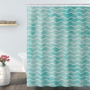Reviews Rossie Ocean Sea Wave Pattern Shower Curtain By Highland Dunes