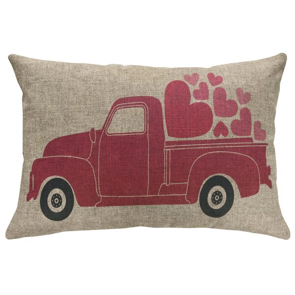 Finkel Valentines Day Truck Linen Throw Pillow by August Grove