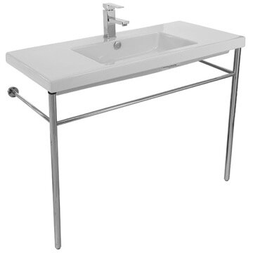 Cangas Ceramic 40 Console Bathroom Sink with Overflow by Ceramica Tecla by Nameeks