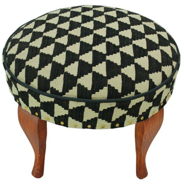 Strand Kilim Upholstered Handmade Ottoman by Bloomsbury Market