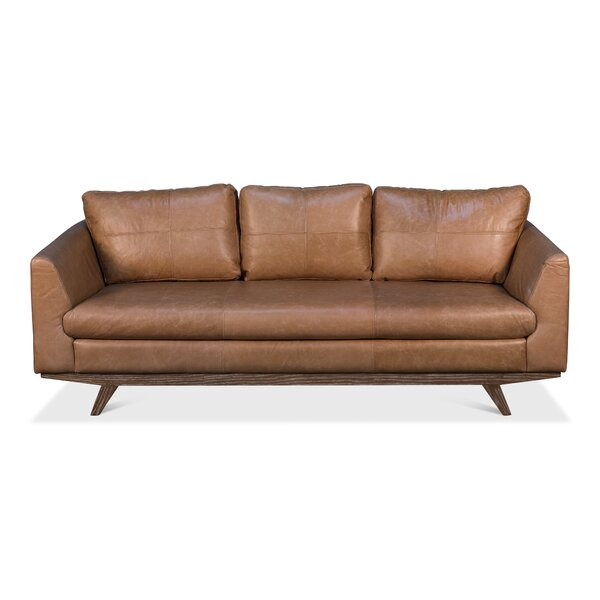 Modern Beautiful Riddleville Leather Sofa by Foundry Select by Foundry Select