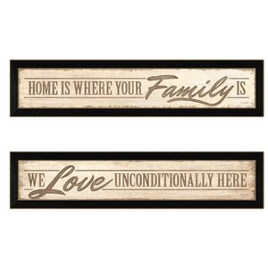 'Love Family and Friends' 2 Piece Framed Textual Art Set by Trendy Decor 4U