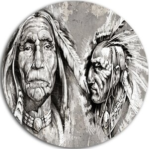 'Native American Indian Heads' Graphic Art Print on Metal by Design Art