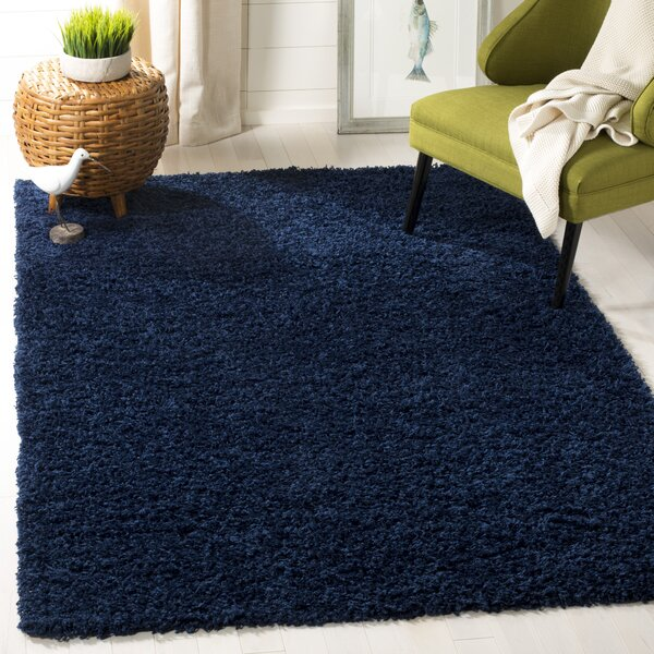 Fornax Shag Navy Area Rug by Wrought Studio