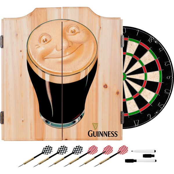 Guinness Smiling Pint Dartboard and Cabinet Set by Trademark Global