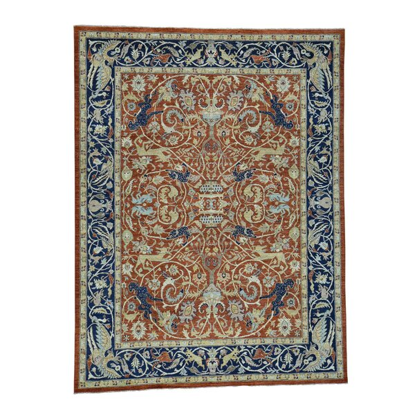 One-of-a-Kind Echavarria Peshawar Hunting Oriental Hand-Knotted Red Area Rug by World Menagerie
