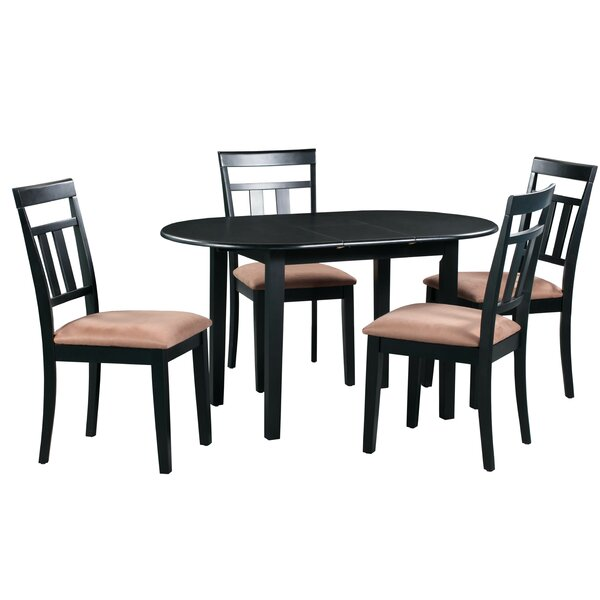 Forsyth 5 Piece Extendable Solid Wood Dining Set by Alcott Hill
